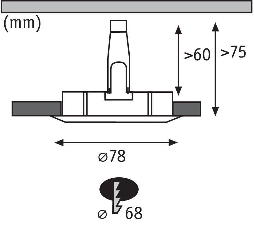 Paulmann EBL Set Nova rund starr LED IP44 1x6,5W2700K 230V GU10 51mm Eisen geb/Alu