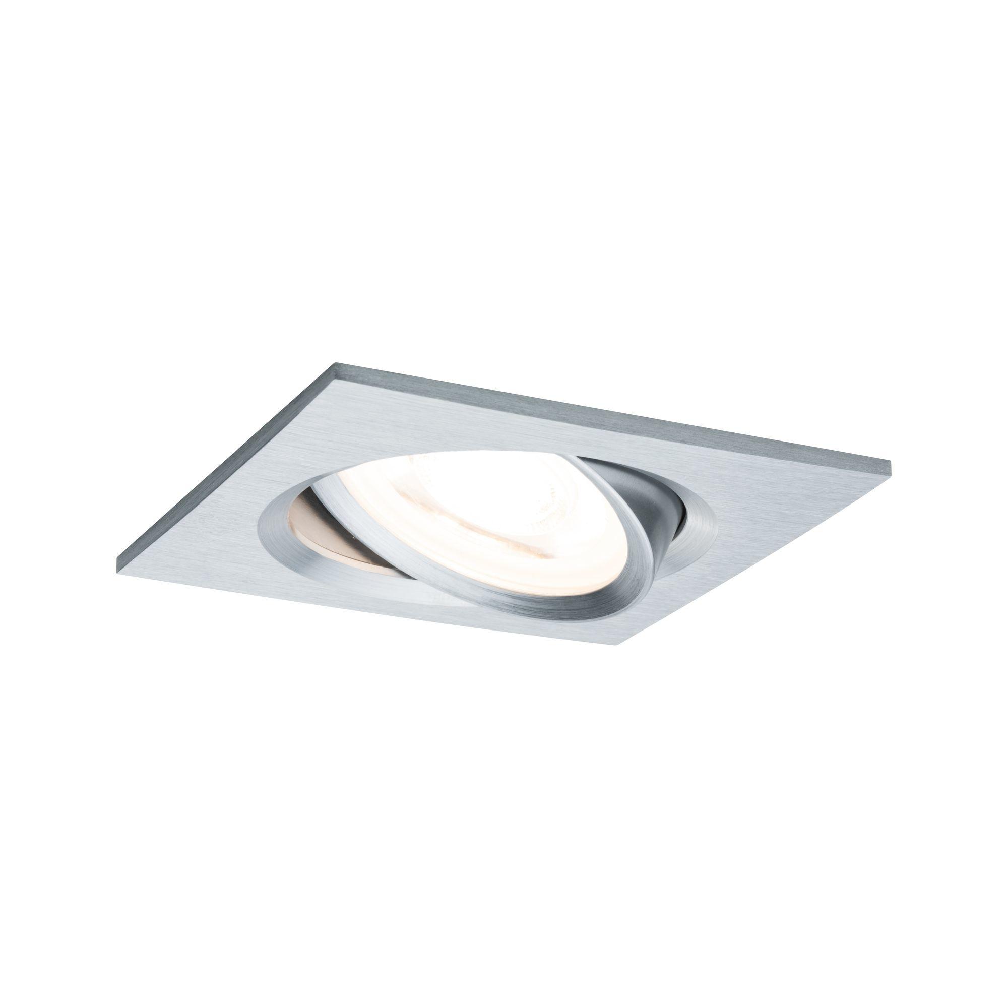 Paulmann EBL Set Nova eckig schwenkbar LED 1x6,5W2700K 230V GU10 51mm Alu ged/Alu