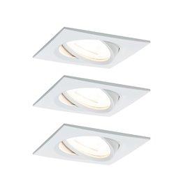 Paulmann EBL Set Nova eckig schwenkbar LED 3x6,5W2700K 230V GU10 51mm Weiß matt/Alu