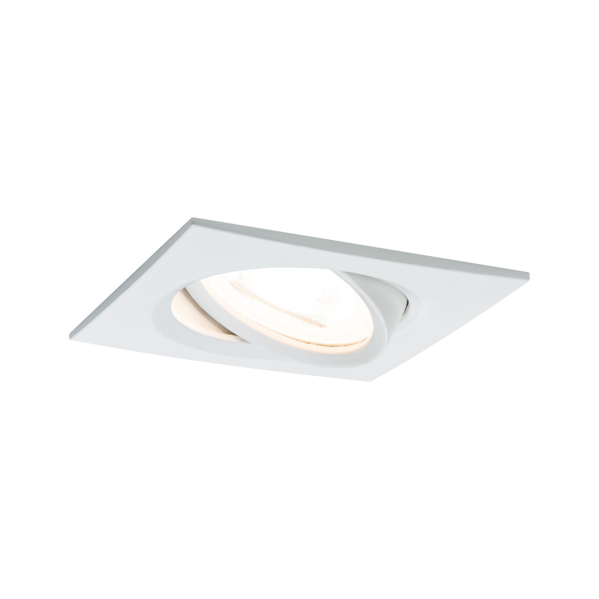 Paulmann EBL Set Nova eckig schwenkbar LED 1x6,5W2700K 230V GU10 51mm Weiß matt/Alu