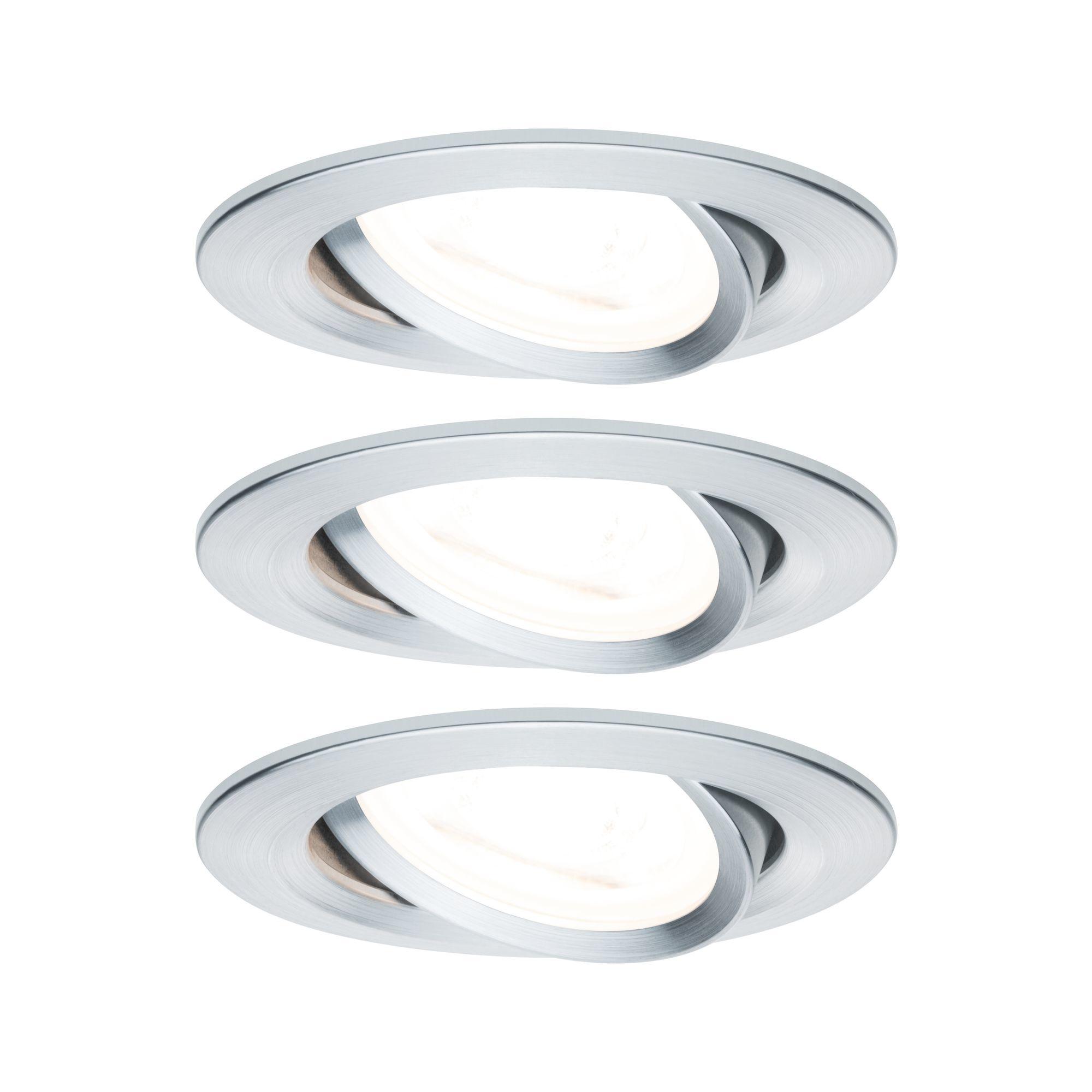 Paulmann EBL Set Nova rund schwenkbar LED 3x6,5W2700K 230V GU10 51mm Alu ged/Alu