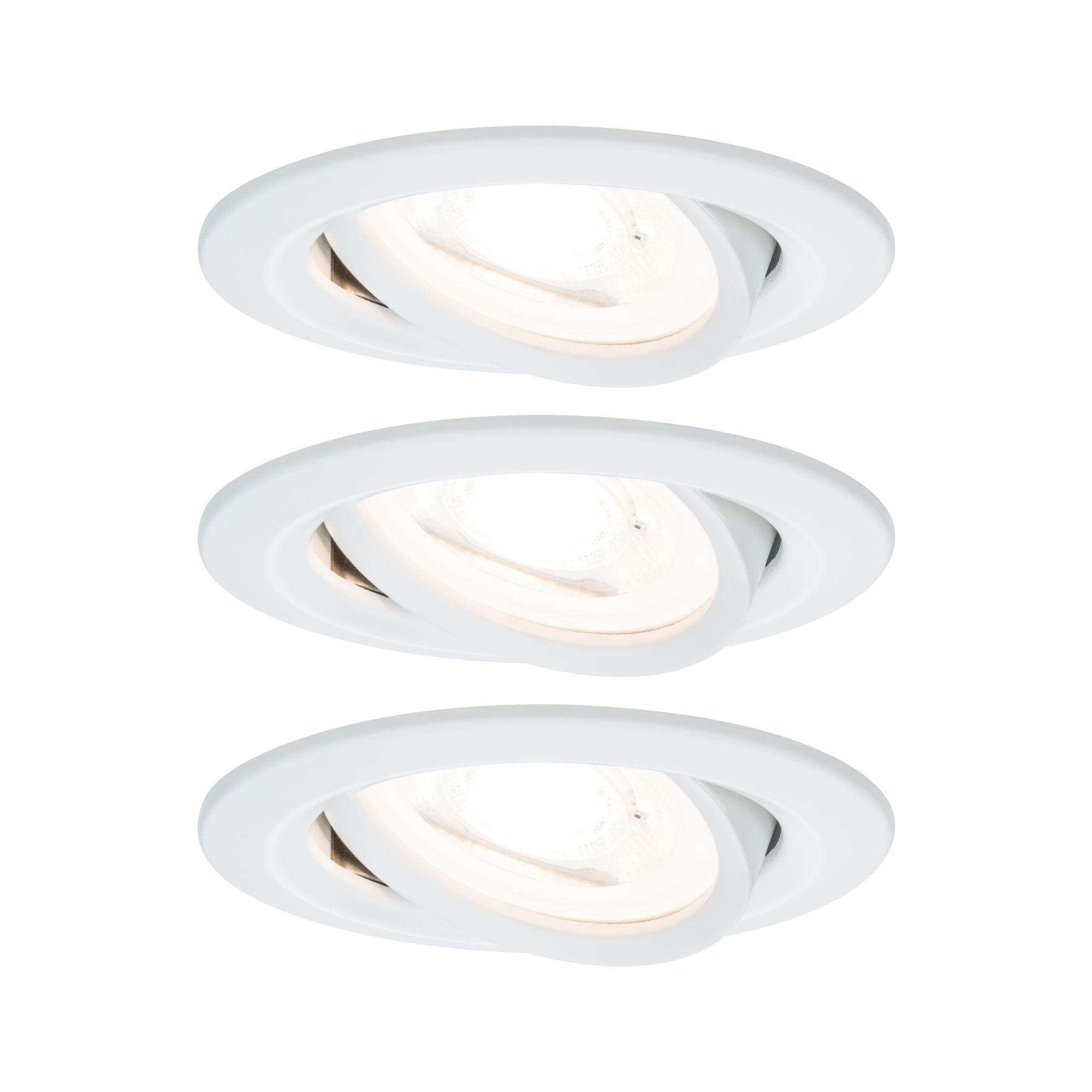 Paulmann EBL Set Nova rund schwenkbar LED 3x6,5W2700K 230V GU10 51mm Weiß matt/Alu