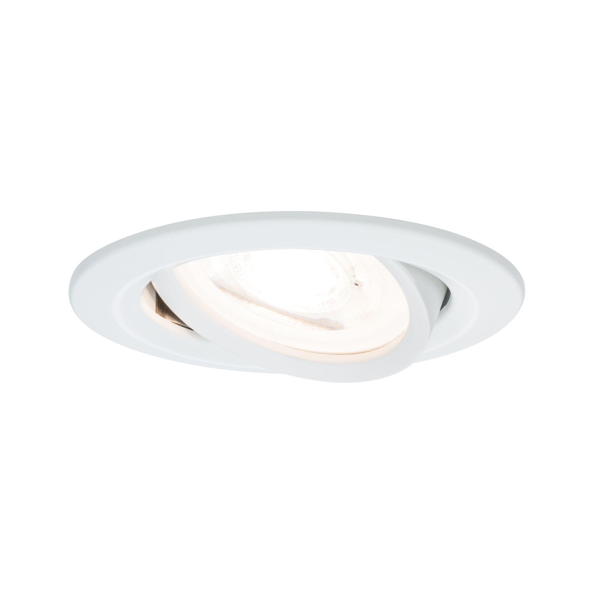 Paulmann EBL Set Nova rund schwenkbar LED 1x6,5W2700K 230V GU10 51mm Weiß matt/Alu
