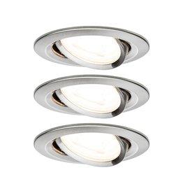 Paulmann EBL Set Nova rund schwenkbar LED 3x6,5W2700K 230V GU10 51mm Eisen geb/Alu
