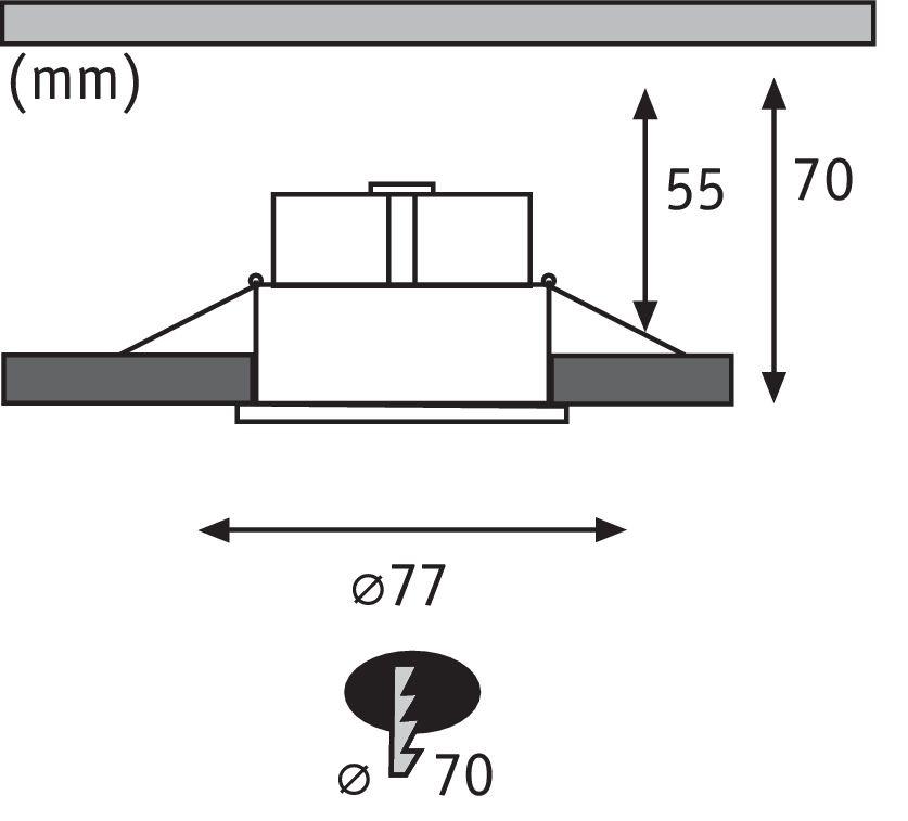 Paulmann EBL Set Cymbal Coin starr dim blendfreiLED 3x6,8W/530lm 230V 2700K Weiß matt