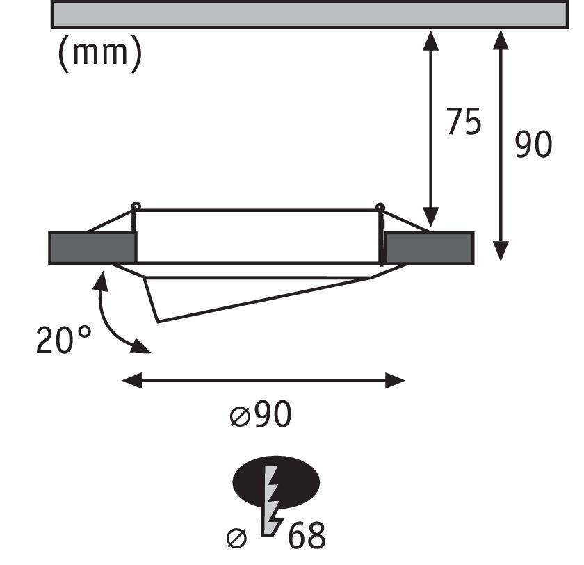 Paulmann EBL Base Set schwenkbar 1x5W 230VGU10 51mm Eisen geb/Metall