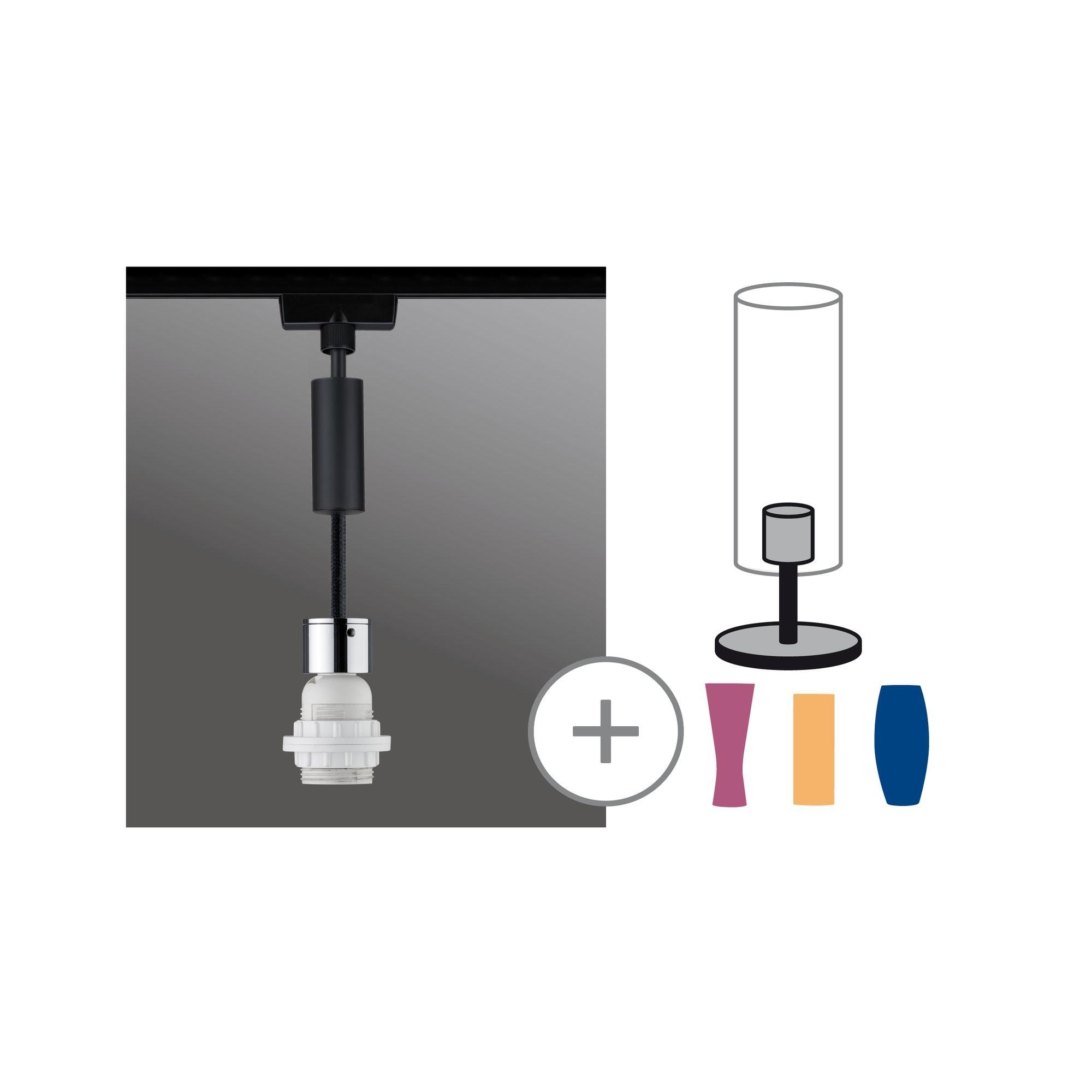 Paulmann URail 2Easy Basic Pendel max 20W E27 Schwarz matt/Chrom 230V Metall/Kunstst