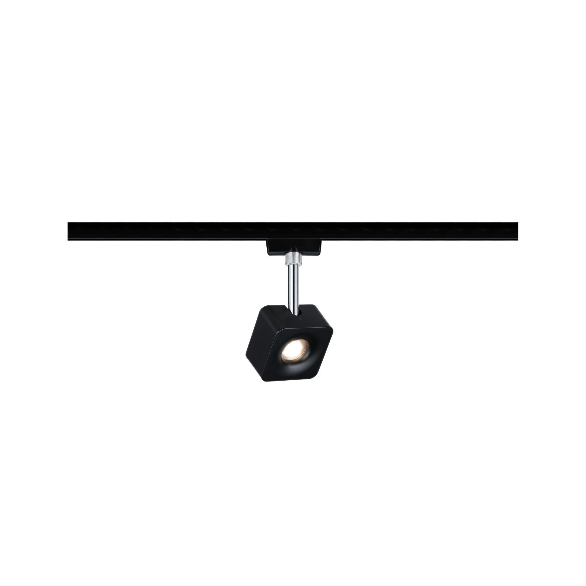 Paulmann URail Spot Cube 1x8W Schwarz matt Chrom 230V Met/Kst 2700K dimmbar