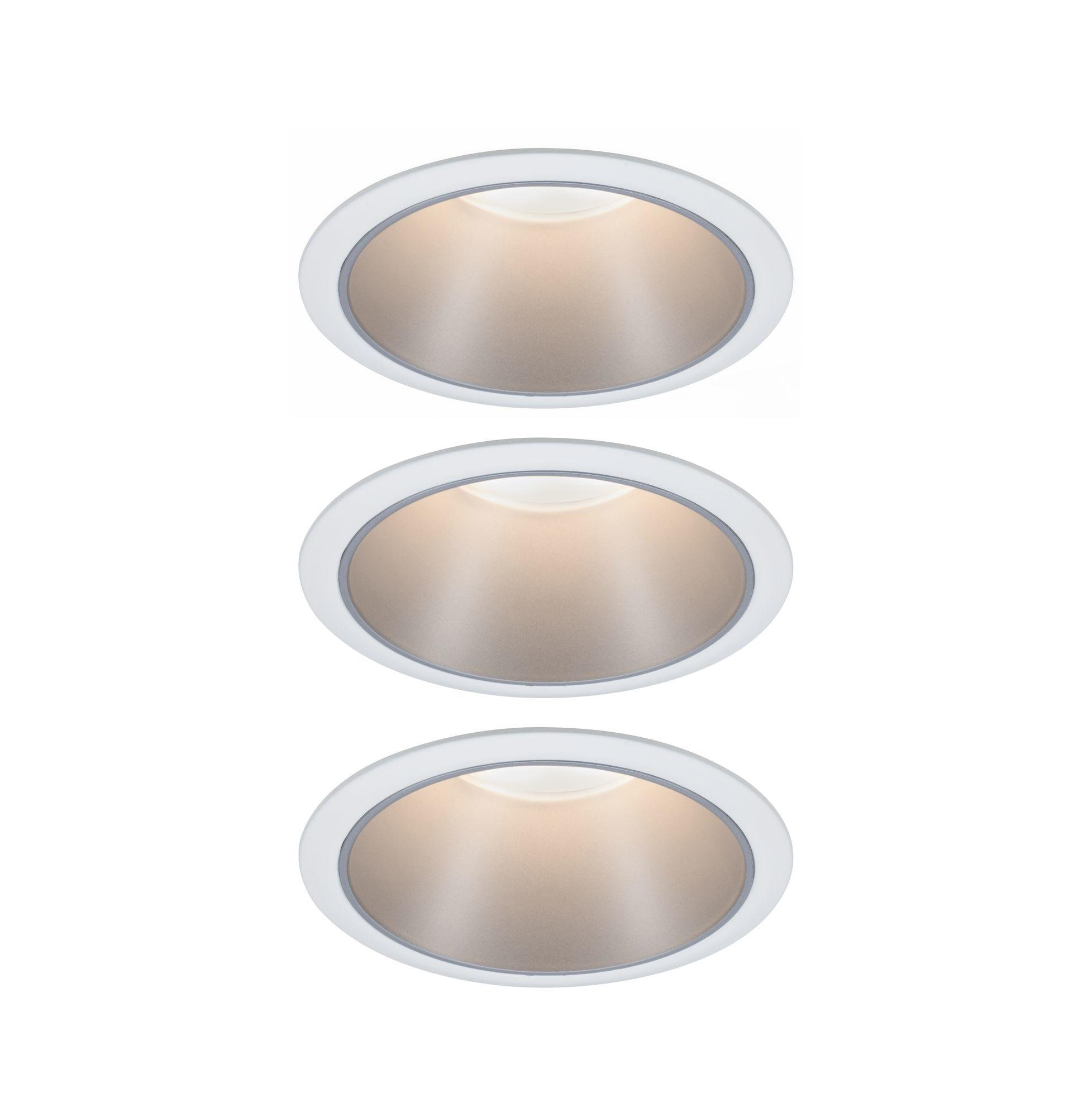 Paulmann EBL Set Cole Coin 3StepDim rd starr LED 3x6,5W 2700K 230V weiß/silber matt/Kst