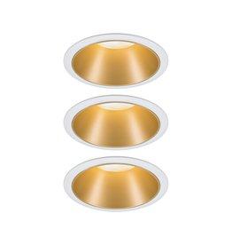 Paulmann EBL Set Cole Coin 3StepDim rd starr LED 3x6,5W 2700K 230V weiß/gold matt/Kst