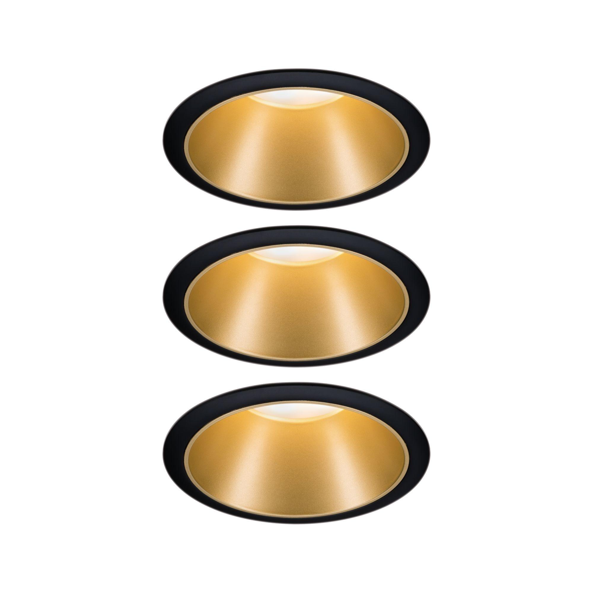 Paulmann EBL Set Cole Coin 3StepDim rd starr LED 3x6,5W 2700K 230V schwarz/gold matt/Kst