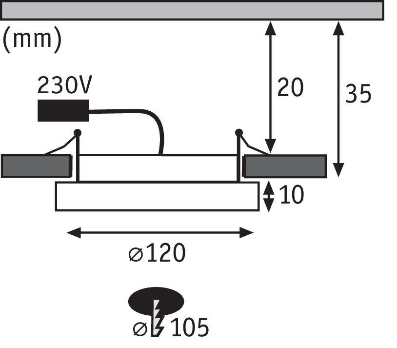 Paulmann LED Einbaupanel Areo rund 120mm 8W 3.000K Nickel matt