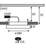 Paulmann LED Einbaupanel Areo rund 180mm 12W 3.000K Weiß matt