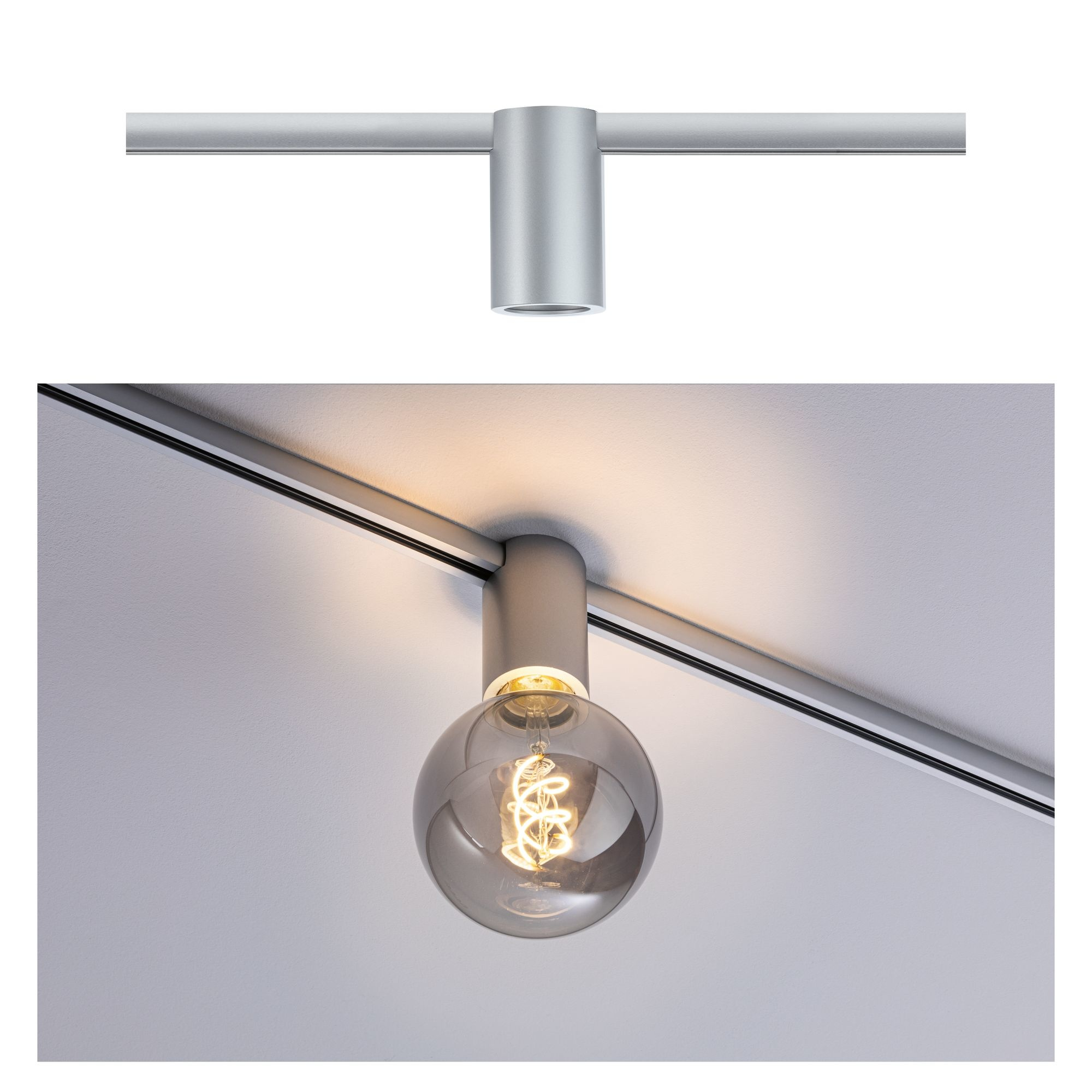 Paulmann URail Spot Ceiling Socket Chrom matt E27 dimmbar ohne Leuchtmittel
