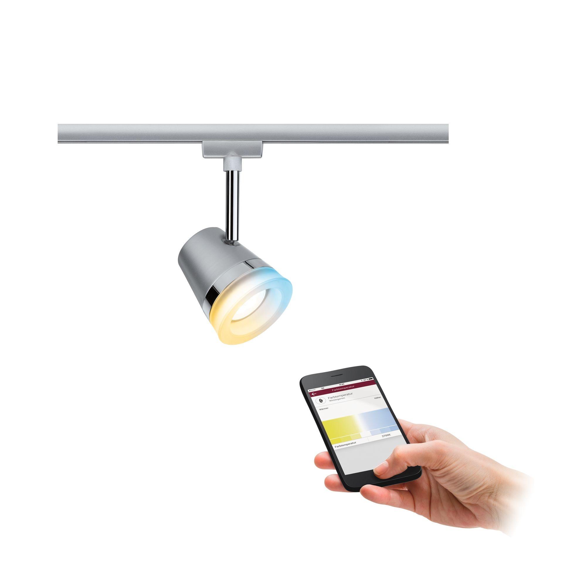 Paulmann URail Spot Cone Smart Chrom matt#Chrom max. 1x5W GU10 dimmbar inkl. Zigbee/Tunable White Leuchtmittel