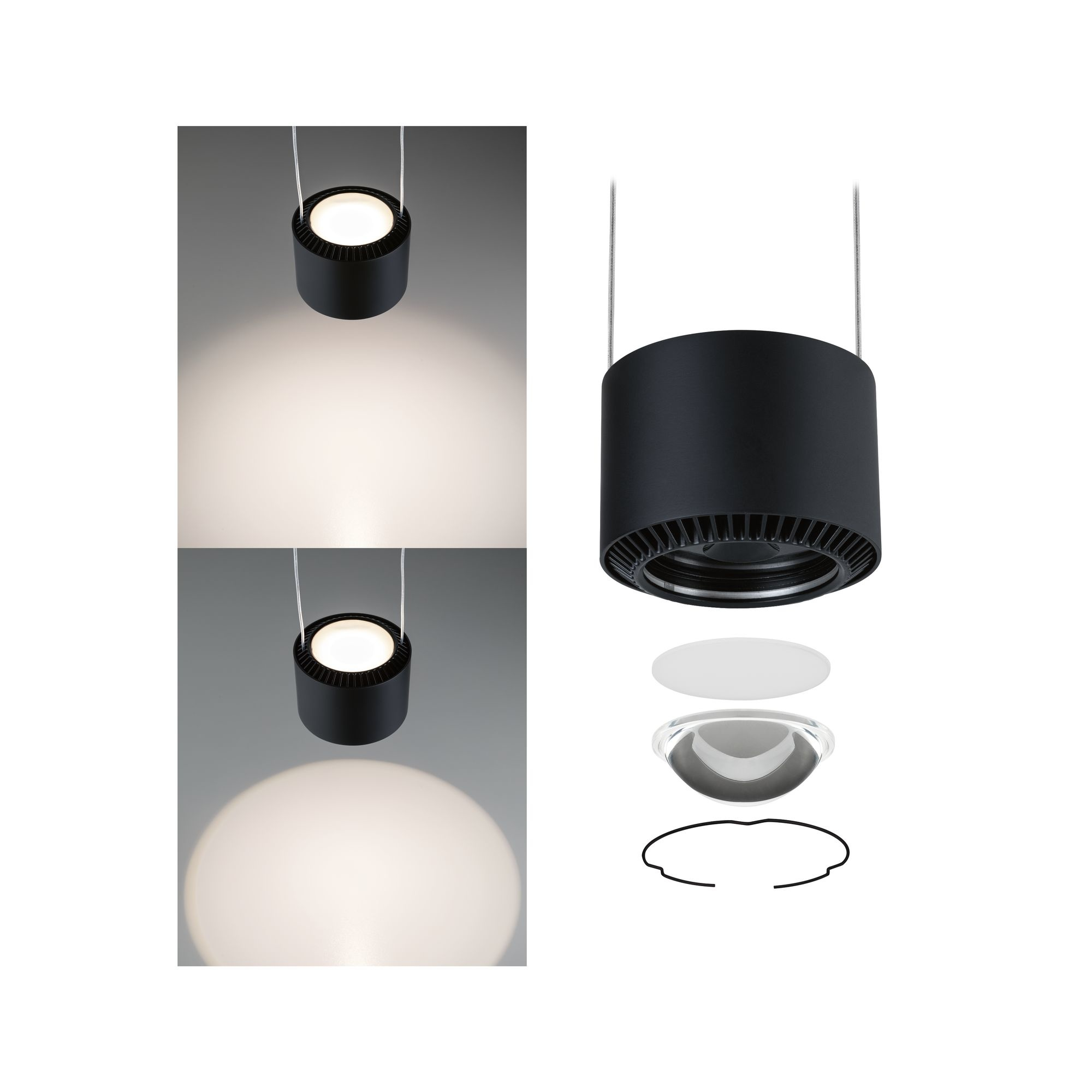 Paulmann URail LED Pendel Aldan 1-flammig 1x8,5W Schwarz matt dimmbar