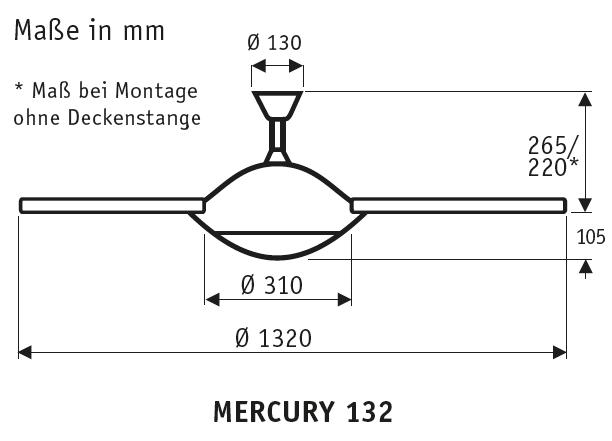 CasaFan Deckenventilator Mercury BN mit Fernbedienung