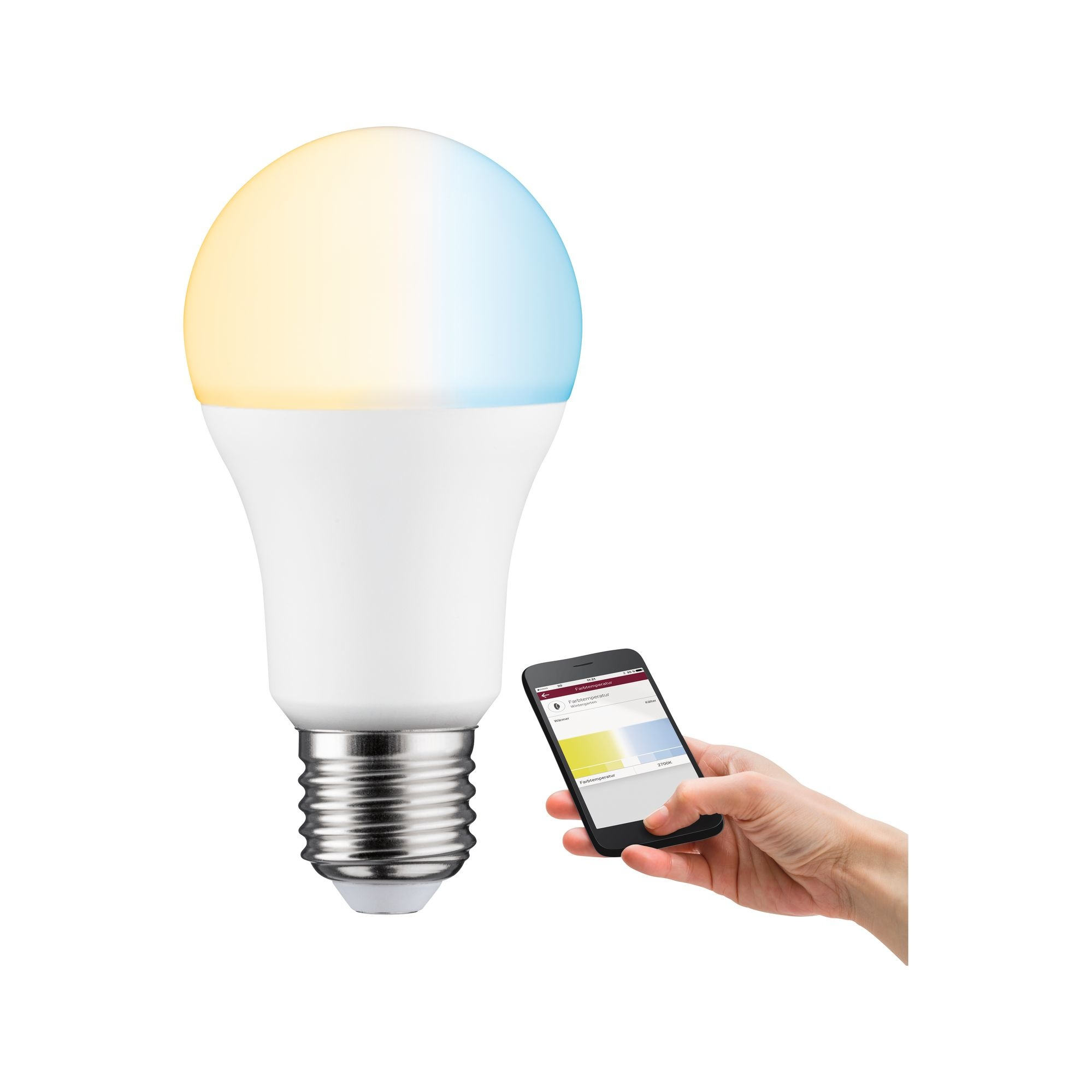 Paulmann Smart Home Zigbee LED Standardform 9 Watt Matt E27 2.700 - 6.500K Tunable White