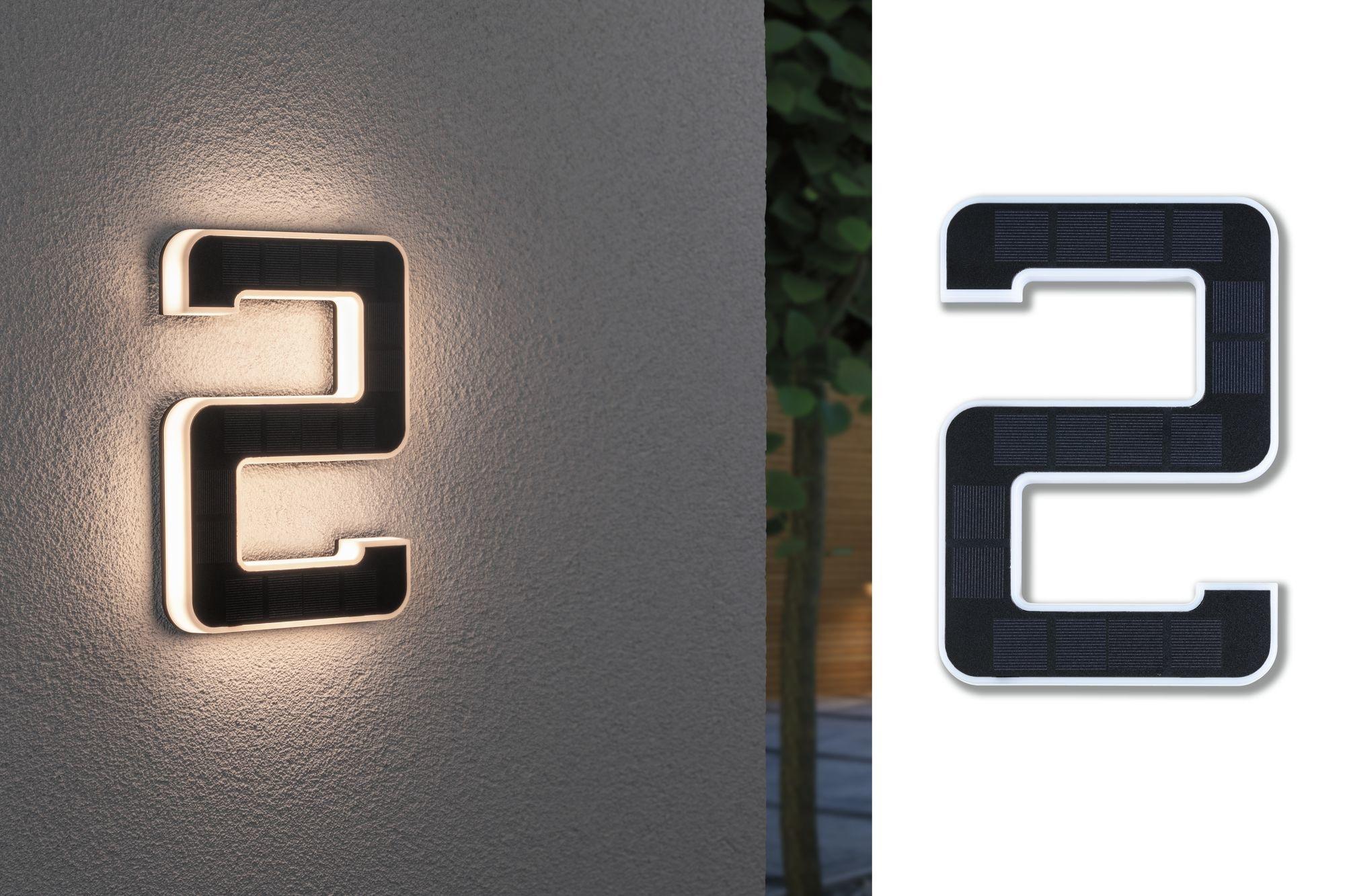 Paulmann Outdoor Solar Hausnummer 2 IP44 3.000K 0,2W Akku wechselbar