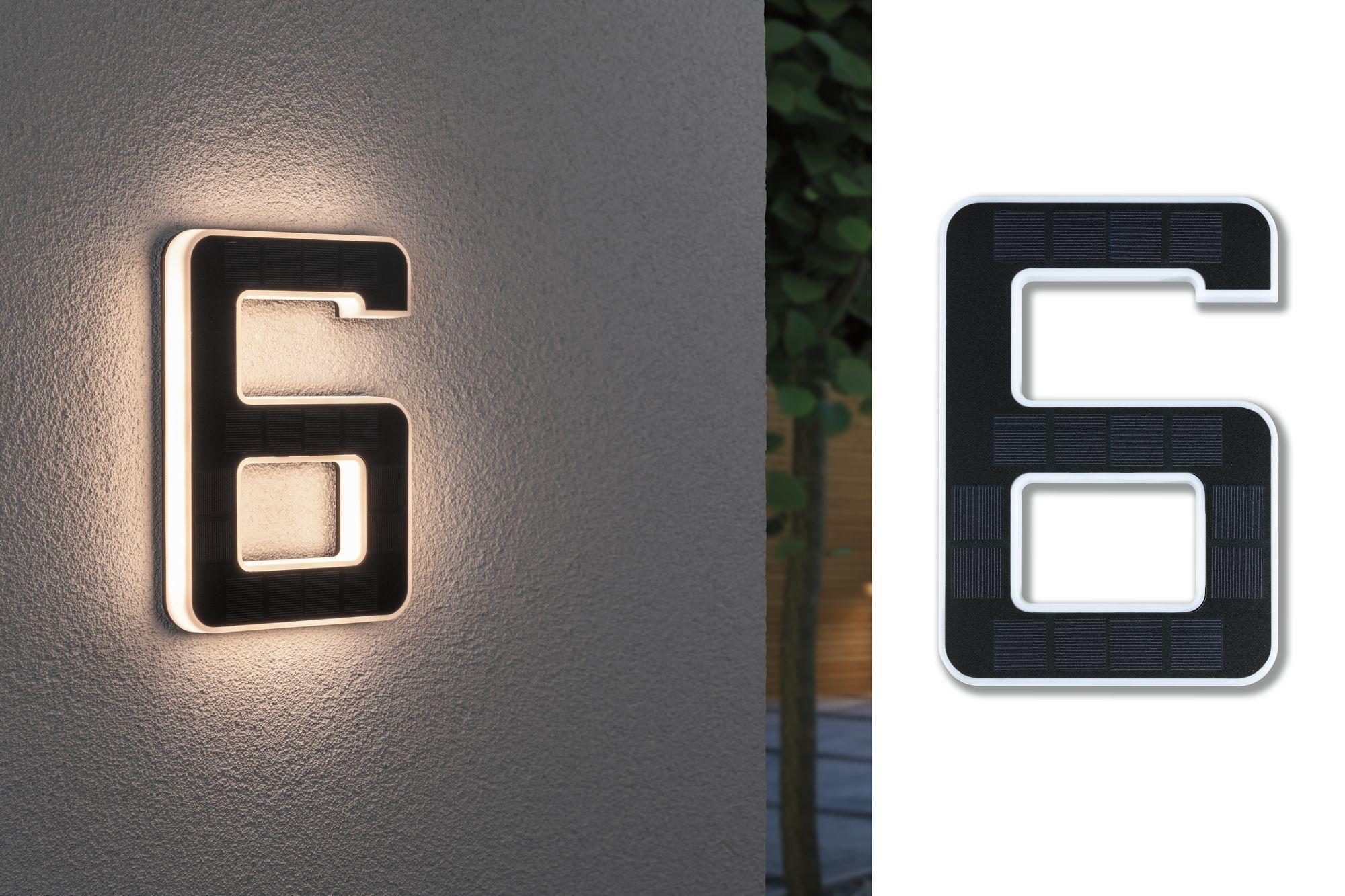 Paulmann Outdoor Solar Hausnummer 6 IP44 3.000K 0,2W Akku wechselbar