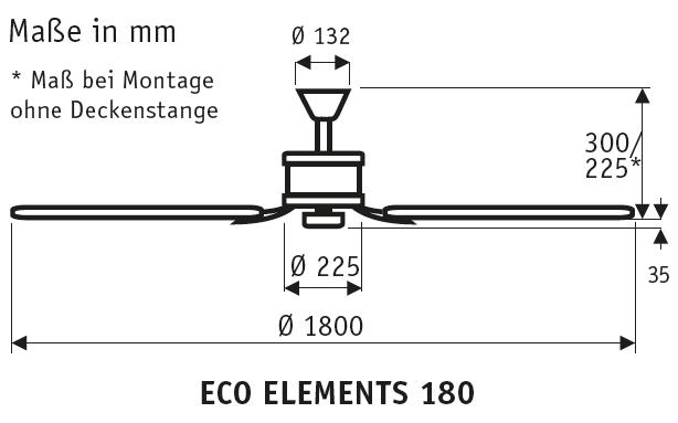 CasaFan Energiespar Deckenventilator ECO ELEMENTS 180