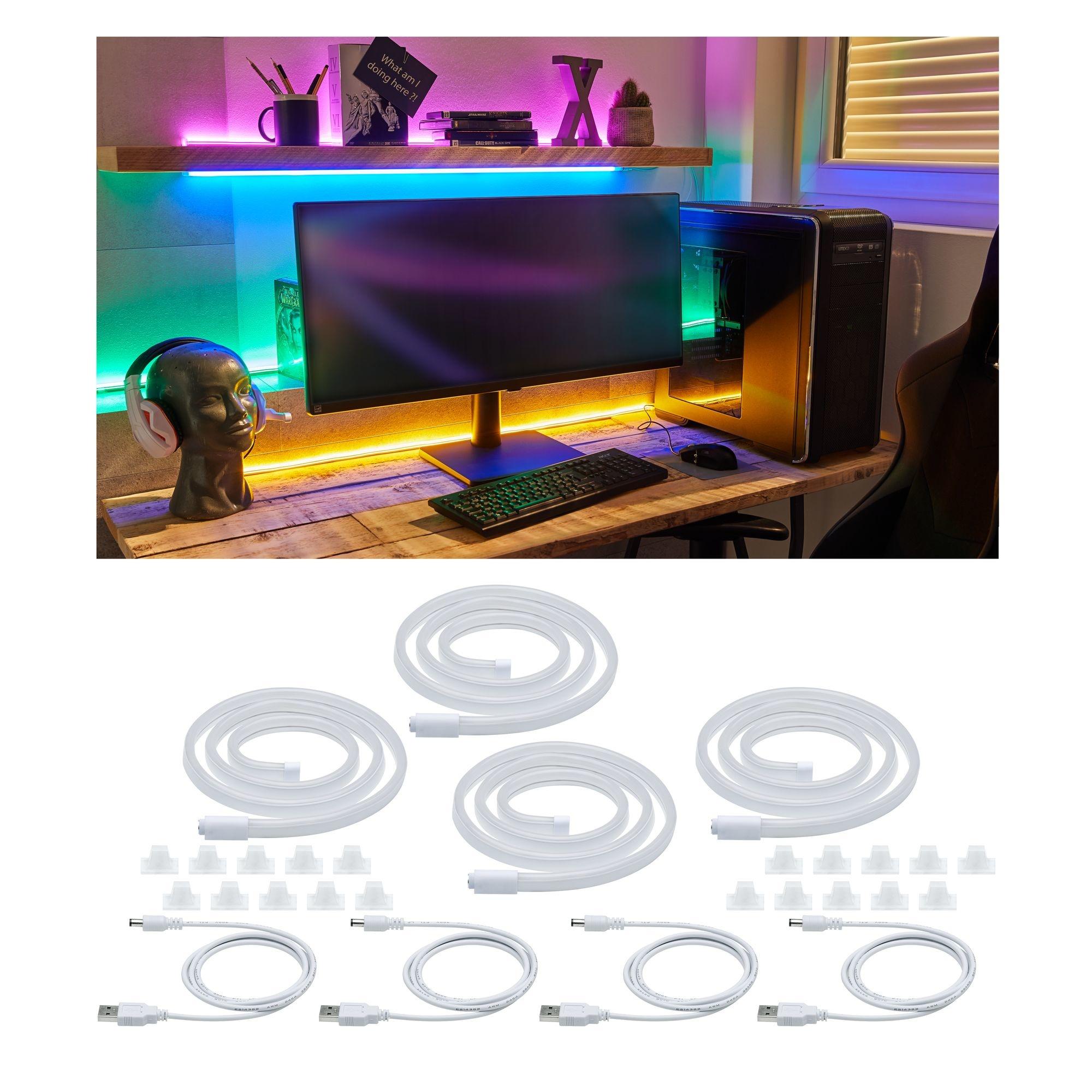 Paulmann Neon Colorflex USB Strip Set 4x1m 4x4,5W 5V Pink, Orange, Grün, Blau