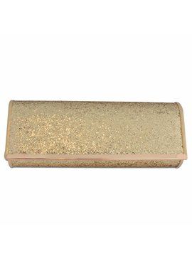 Glitter-look clutch goud