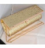 Glitter-look clutch goud