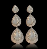 Strass oorbellen met grote stenen - Zilver