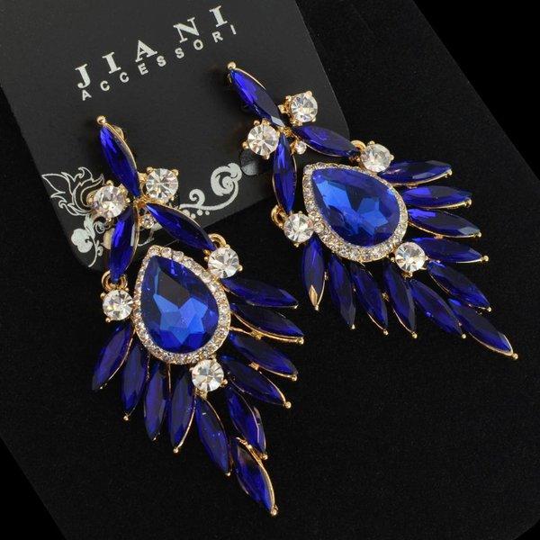 oorbellen met strass steentjes en kristallen - Blauw