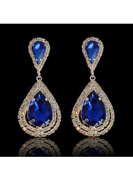 Strass oorbellen met grote steen - Blauw