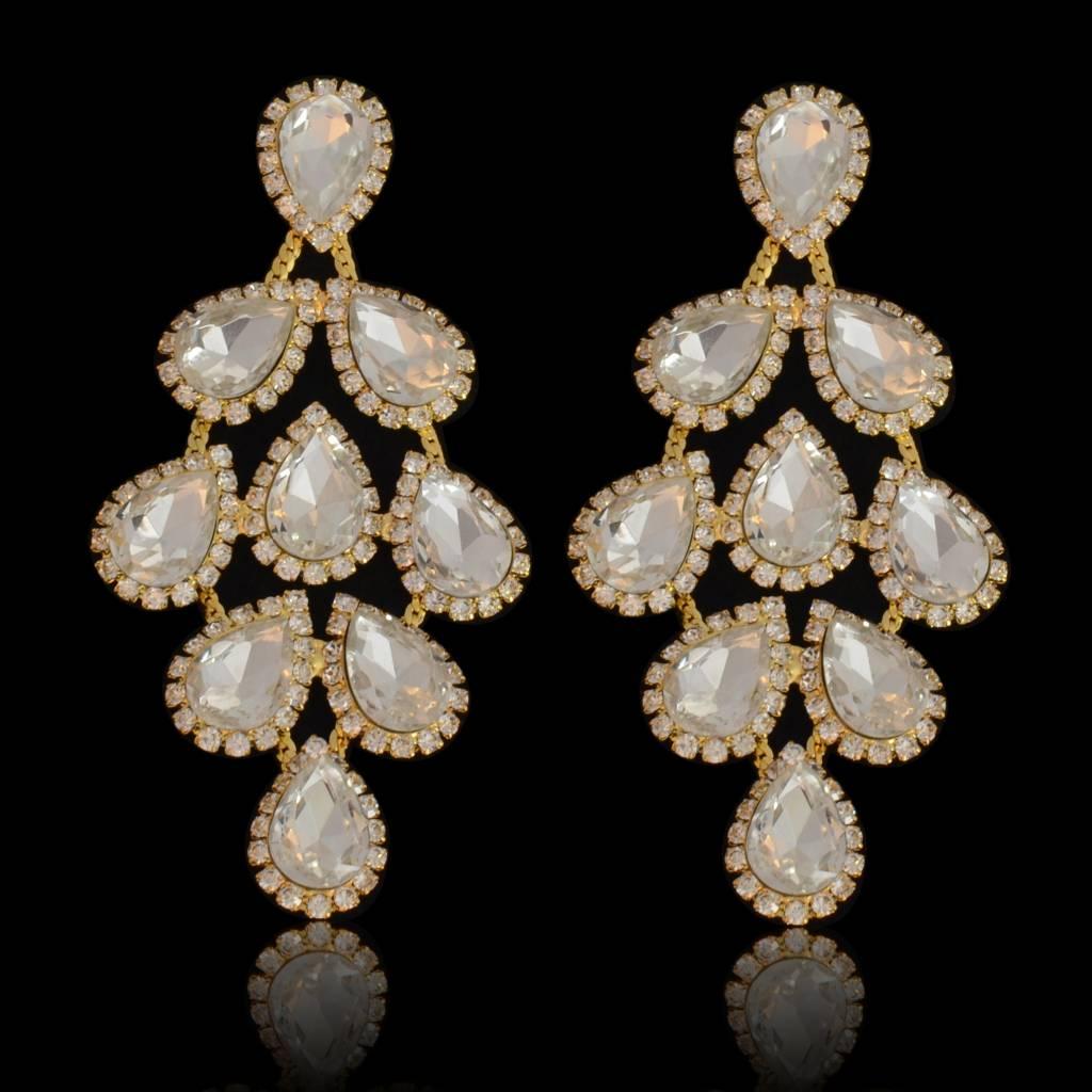 oorbellen met strass steentjes en kristallen - Goud