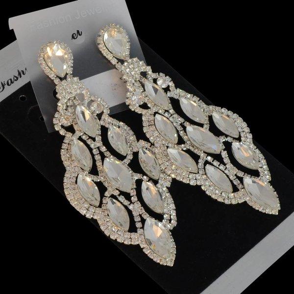 oorbellen met strass steentjes en kristallen - Zilver