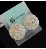 clip oorbellen - strass - zilver