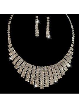 Luxe strass ketting + oorbellen - Zilver