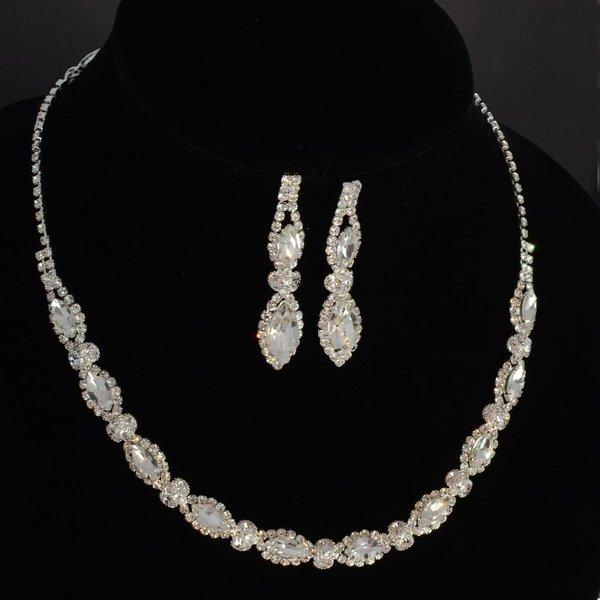 Sieraden set met kristallen en strasssteentjes
