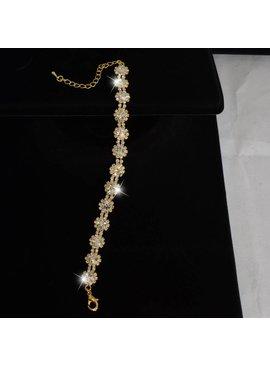 Strass armband met bloem motief (S20W)