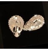 clip oorbellen - strass - zilver (W112)