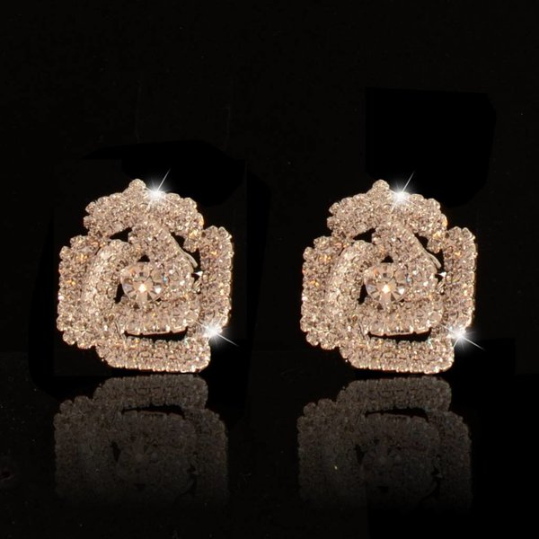 clip oorbellen - strass - bloem zilver