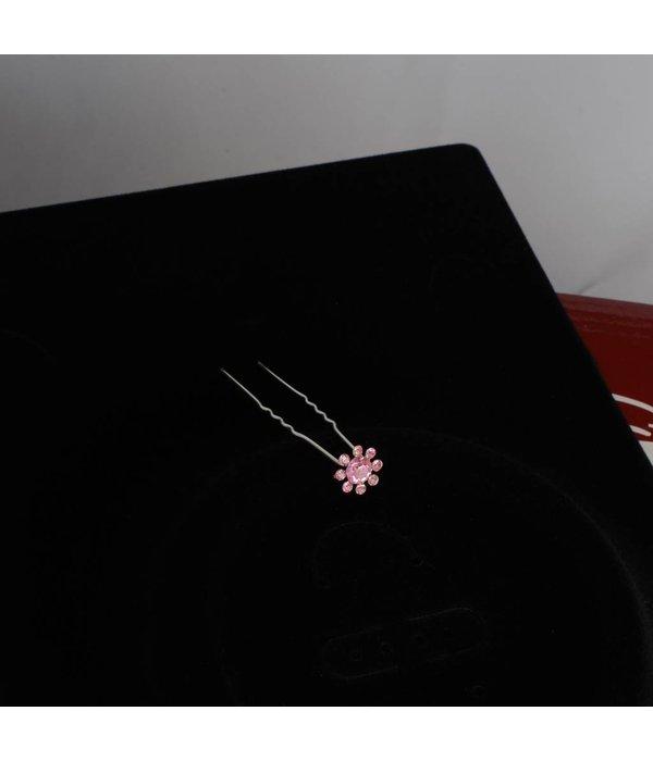 Haarpin strass Roze  roosjes (2 st.)