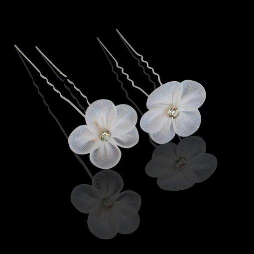 Stoffen haarpin met bloem en strass (2st.)
