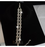 Armband strass parel (Zilver)