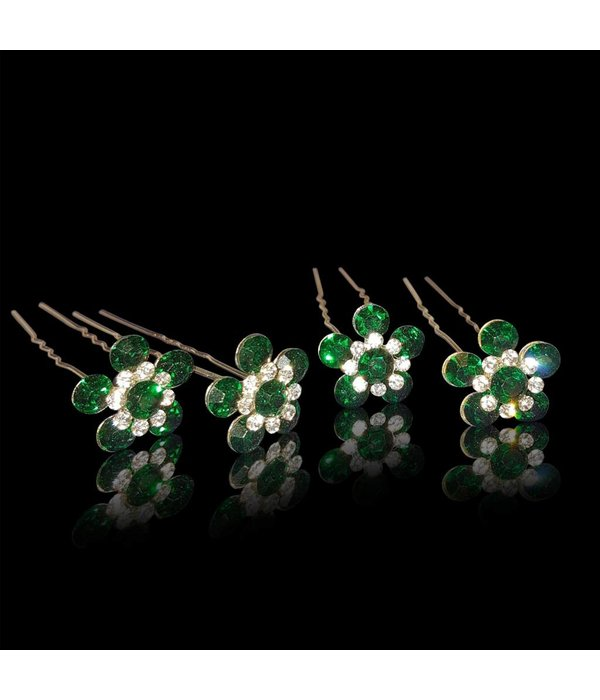 Haarpin met bloem strass Groen (2st.)