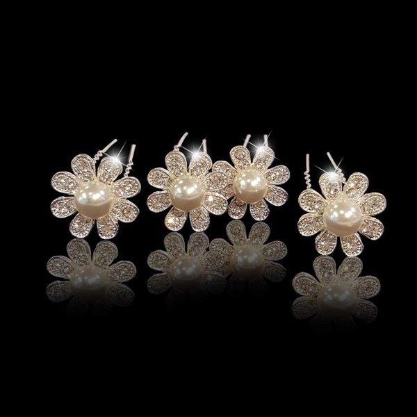 Haaarpinnen bloem met strass en witte parels
