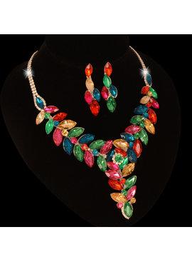 Fashion Jewelry Bruid-Sieraden set -Multi color steentjes met strass