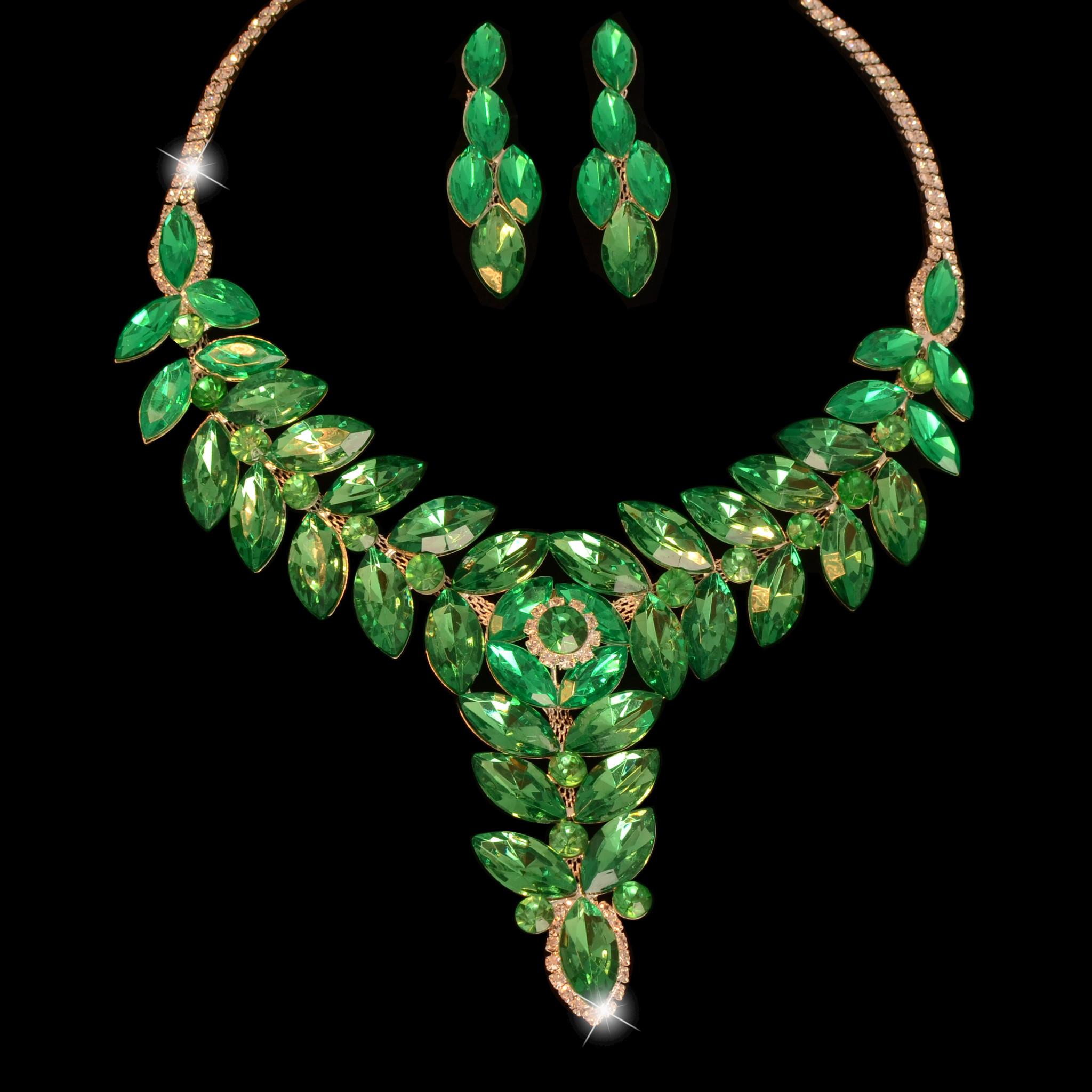 Fashion Jewelry Bruid-Sieraden  set - Green-Silver