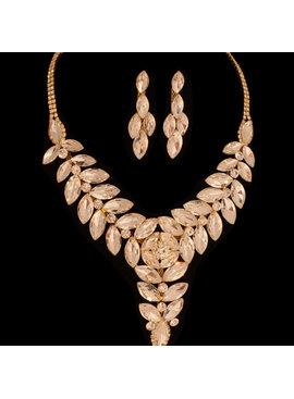 Fashion Jewelry Bruid-Sieraden set - Luxe Grote Kristallen- Goud