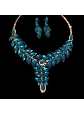 Fashion Jewelry Bruid-Sieraden set - Luxe Grote Kristallen- Blauw