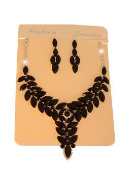 Fashion Jewelry Bruid-Sieraden set - Luxe Grote Kristallen- Zwart-Zilver