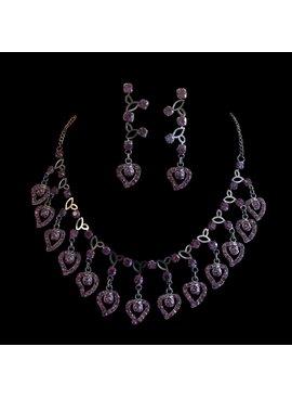 Fashion Jewelry Sieradenset met paarse strass stenen (Q12)